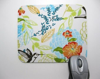 Buy 2 FREE SHIPPING Special!!   Mouse Pad, Computer Mouse Pad, Fabric Mousepad         Hummingbirds and Dalhias