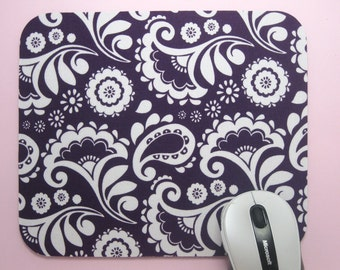 Buy 2 FREE SHIPPING Special!!   Mouse Pad, Computer Mouse Pad, Fabric Mousepad      Paisley & Flowers on Mulberry