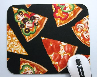 Buy 2 FREE SHIPPING Special!!   Mouse Pad, Computer Mouse Pad, Fabric Mousepad   Pizza Party