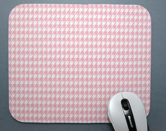 Buy 2 FREE SHIPPING Special!!   Mouse Pad, Fabric MousePad        Baby Pink & White Houndstooth