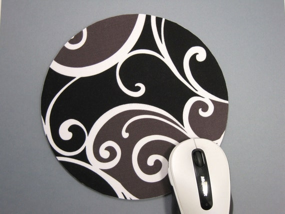 Buy 2 FREE SHIPPING Special!!   Mouse Pad, Computer Mousepad, Fabric Mousepad or Trivet    Whimsy Surf in Black
