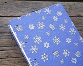 Blue Snowflake Journal Blank Handmade Book Coptic Stitch Sketchbook Winter Diary