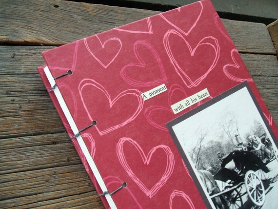 Hearts Handmade Journal With Vintage Photo of Couple in Carriage