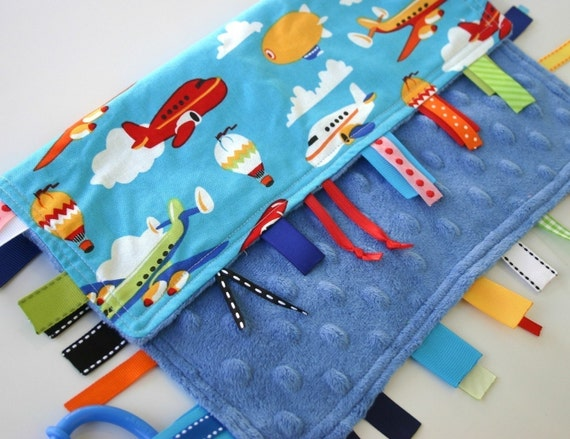 Ribby Learning Lovey - Fly by Day - with Blue Minky Dot - only a few left - this fabric is oop