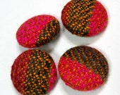 Handwoven Fabric Covered Buttons: Pink Tobacco
