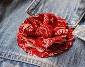 RED BANDANA fabric flower...READY TO SHIP as a hair clip
