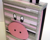 Reserved for Bonny'sBeadedThings - Recycled Box Sparkly Piggy Bank