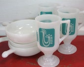 Vintage Set of three milkglass bowls with three Rooster Mugs