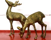 Vintage Brass Deer Set