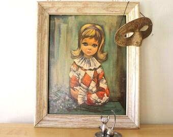 Vintage Harlequin Girl Framed Print
