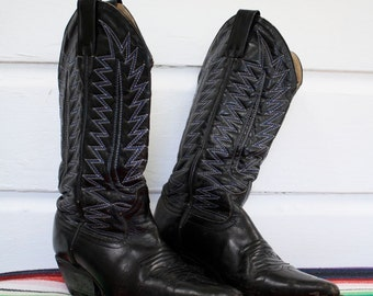 SALE Vintage Made in Mexico Nogales Black Cowboy Boots