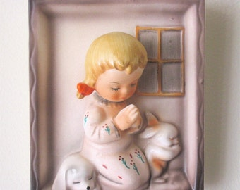 Sweetest Vintage Plaque Ever of Praying Girl and Bunny