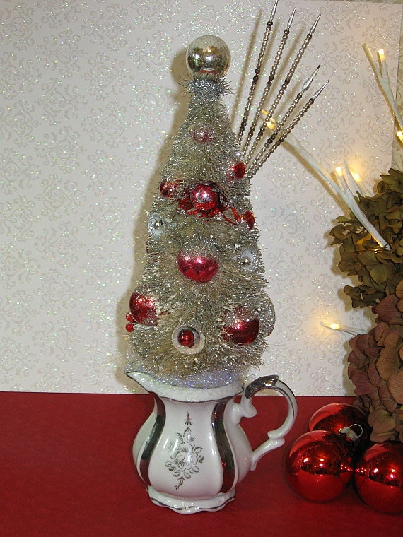 Decorated White Vintage Style Bottle Brush Tree In Little