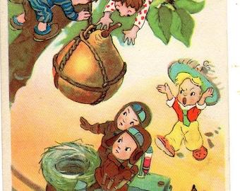 Vintage postcard L. Vladimirski Fairy tale Neznaiki adventure, 3, Russian postcard