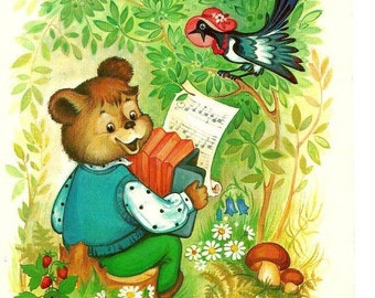 Bear ,Bird postcard USSR vintage post card, dressed animals palying music, singing, musical instrument Adorable dressed animals, magpie