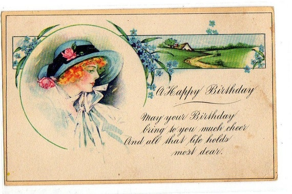 a Happy  Birthday  Postcard Vintage