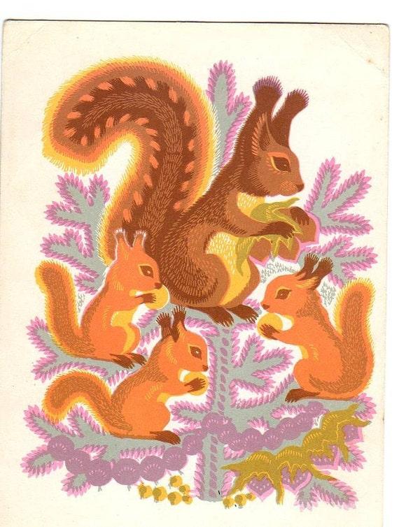 Vintage Russian postcard Squirrels