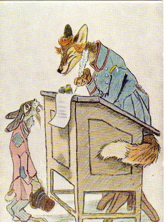 Russian postcard with Fox and Rabbit  vintage Fairytale  ''Sane hare'',  by M.Y.Saltykov-Schedrin, Illustrations by Y.M.Rachev