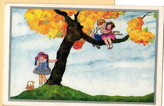 Scene of Love and Frustration Italian postcard vintage
