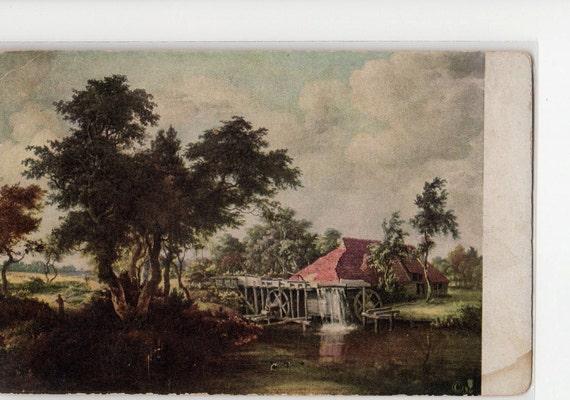 The Old Watermill by Meindert Hobbema vintage postcard
