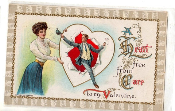 Vintage  Valentine postcard  Lovely Couple