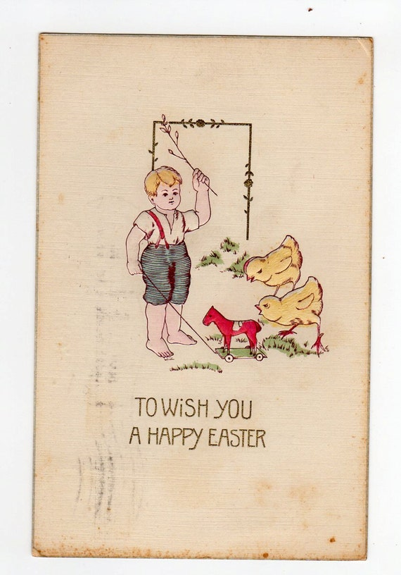 Easter  Vintage Greetings Postcard boy with chicks