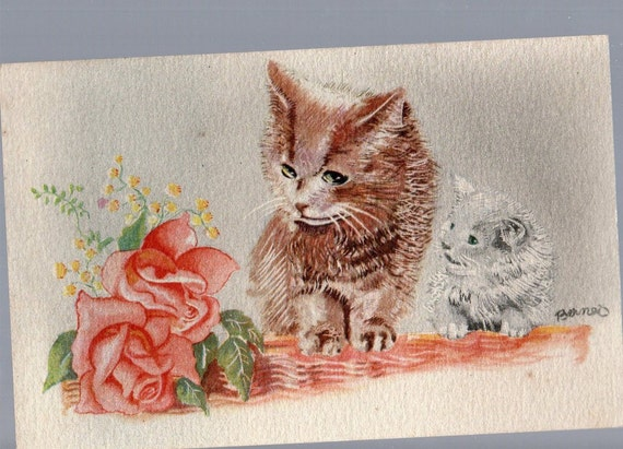 "Two Kittens and Flowers"" Nice French Postcard , vintage"