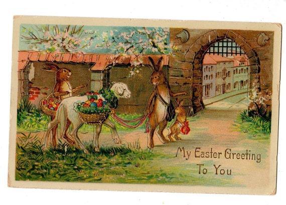 Beautiful bunnies with sheep Easter Gel postcard, Embossed vintage