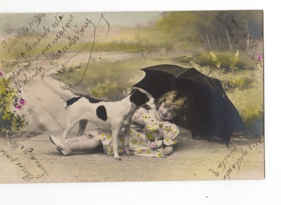 Little Girl plays with Jack Russell Terrier Dog  Nice Vintage Postcard
