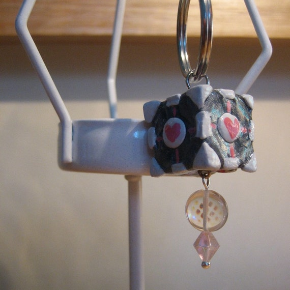 PORTAL Weighted Companion Cube Keychain