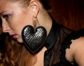 I Heart OsoFly Faux Leather Padded Hearts Earrings