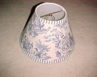 Chandelier lampshades blue and gold toile fabric with check
