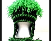 Wig Funky Hair Crochet Beanie Hat Mop Top Earflaps