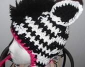 Funky Zebra Crocheted Hat