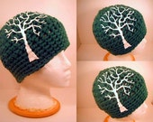 The Tree Crochet Hat Green and White