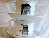 Doctor Who Themed Tardis and Dalek altered vintage Teacup