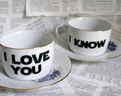 Romania I love you I know Star Wars themed altered vintage teacup and saucer set