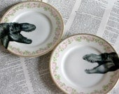 Dinosaur Rosedale Altered Vintage Plate Set