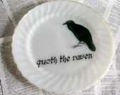 SALE Quoth the Raven Milkglass Altered Vintage Large Plate