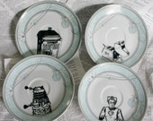 Teal Art Deco Dr Who Themed Altered Vintage Plates Set of Four