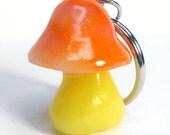 Orange and Yellow  Mushroom Key Chain