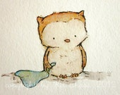 ON SALE ---original painting---Little Owl 5x7 nursery art for baby and children