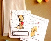 childrens valentines cards boy/girl --Love Notes-- set of 16 by trafalgarssquare