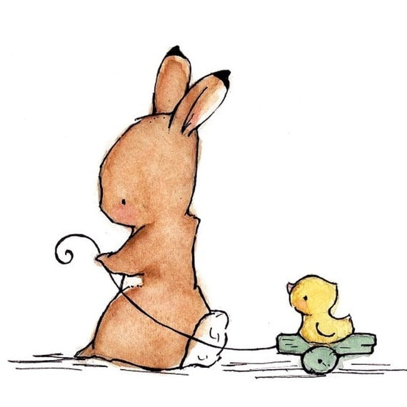 Children's Art Print Bunny And Duck   5x7