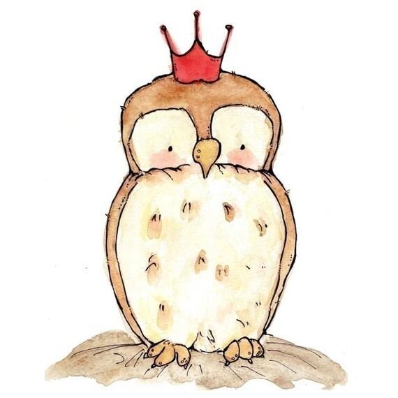 Nursery Art -- Royal Little Owl 5x7 -- Art Print