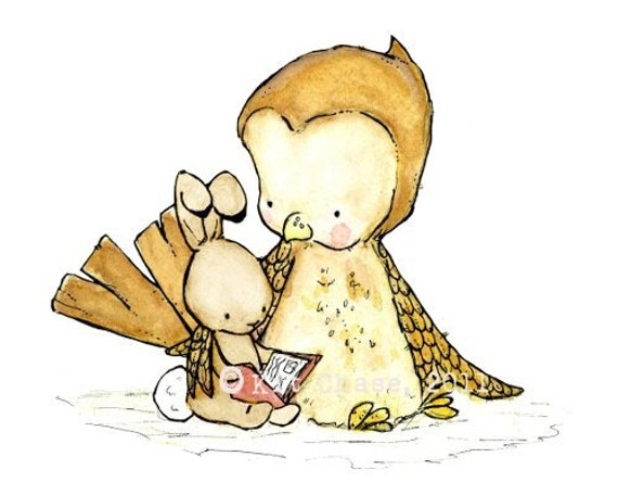 Baby Art -- Tell Me A Story with a brown bunny -- Art Print