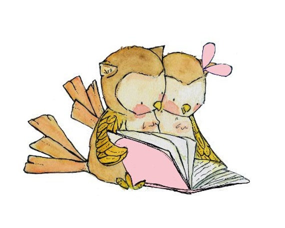 Book Buddies Boy-Girl Pink -- Children's Art Print