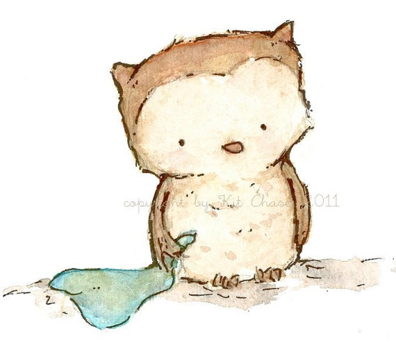 Nursery Art Print for Baby and Children by trafalgarssquare Little Owl  4X6