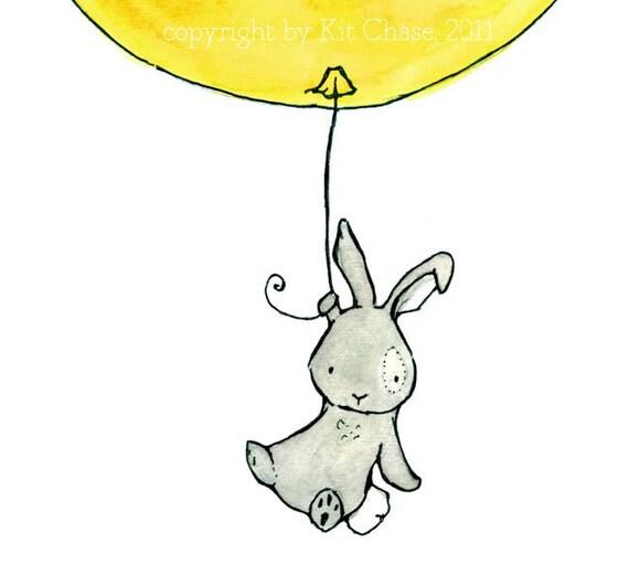 Bunny Balloon  lemon yellow and grey 8x10 Nursery Print