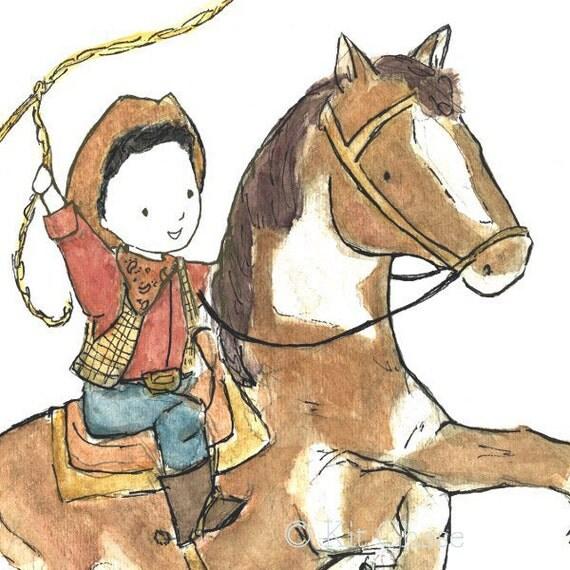 Children's Art - Ride 'Em Cowboy (B) 8x10 - Art Print